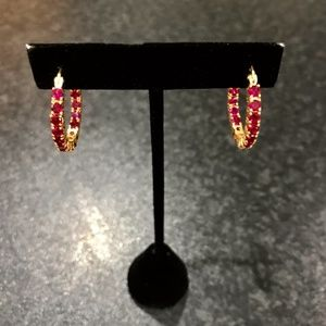 Ruby and Gold Eternity Earrings